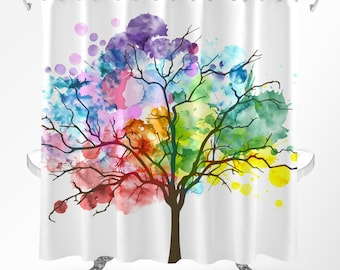 Tree Shower Curtain Watercolor Rainbow Nature Art Modern