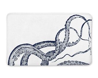 Octopus Bathroom, Bath Mat, Bath Rug, Nautical Bath Rug, Octopus Bath Mat, Nautical Bath Decor, Nautical Bathroom, Nautical Bath Mat