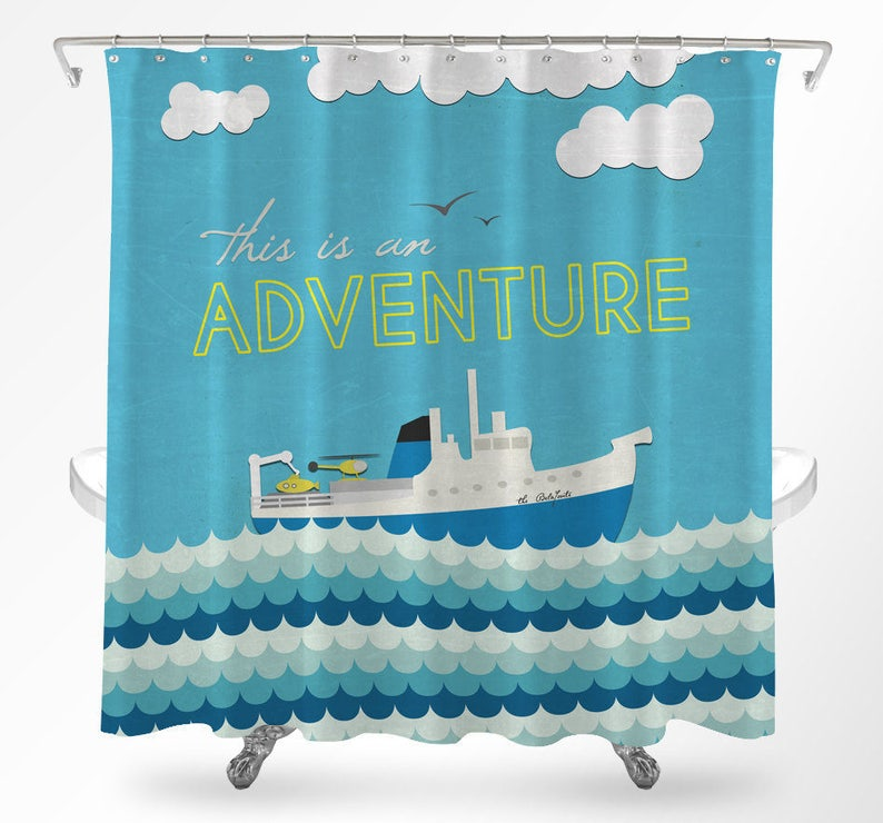 Travel Shower Curtain Nautical Life Aquatic
