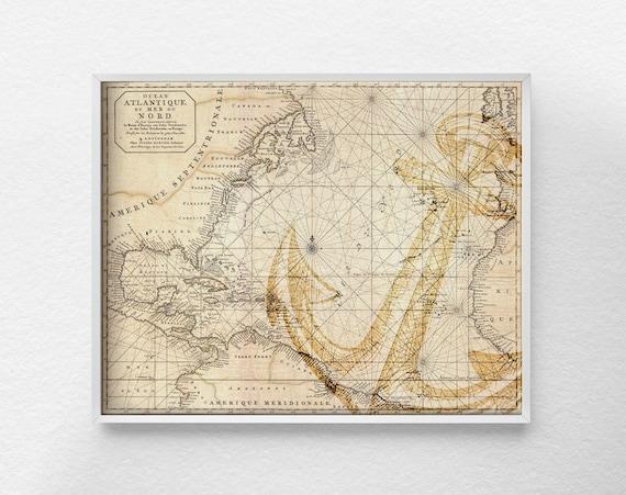 Nautical Map Art, Nautical Poster, Nautical Print, Anchor Decor, Vintage  Nautical Print, Antique Nautical Chart, Anchor Print, 0170