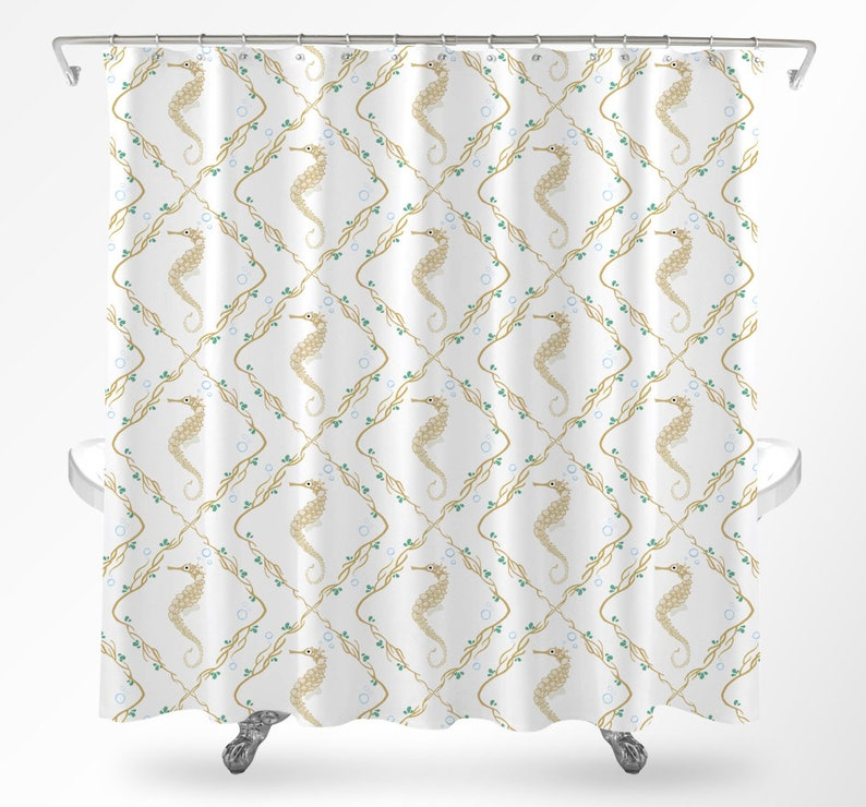 Seahorse Shower Curtain Bathroom Coral