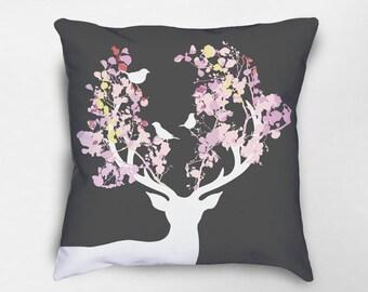 Deer Pillow, Deer Decor, Floral Deer, Stag Pillow, Stag Decor, Woodland Pillow, Woodland Nursery, Nursery Pillow, Deer Nursery Decor