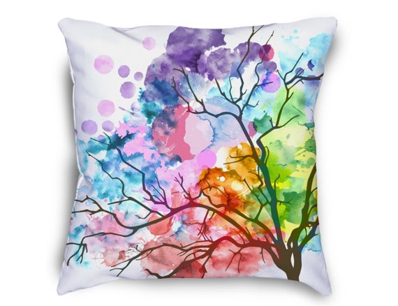Watercolor Tree Throw Pillow Watercolor Pillow Nature Etsy