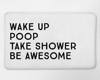Funny Bathroom Decor, Funny Bath Mat, Funny Bathroom, White and Black Bath Mat, White Bath Rug, Bath Mat With Words, Dorm Bathroom, Bath Rug
