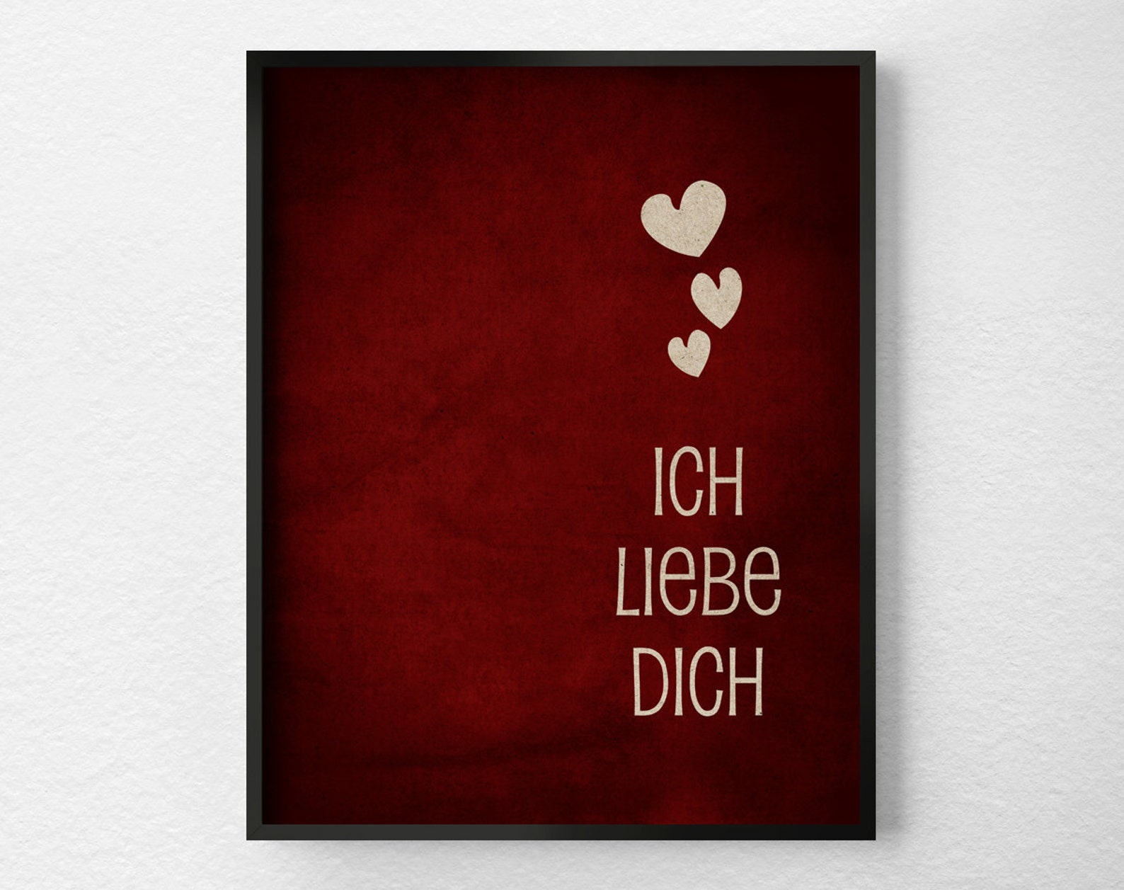 Ich Liebe Dich, I Love You German, Typography Poster, Valentines Day Decor