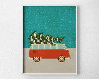 Christmas Print, Christmas Decor, Retro Christmas, Holiday Decor, Christmas Wall Art, Holiday Print, Christmas Poster, VW Bus Print, 0480