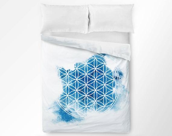Blume Des Lebens Bettbezug Heilige Geometrie Duvet Cover Etsy