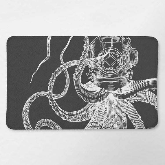 Octopus badkamer nautische Bad tapijt Octopus Badmat | Etsy