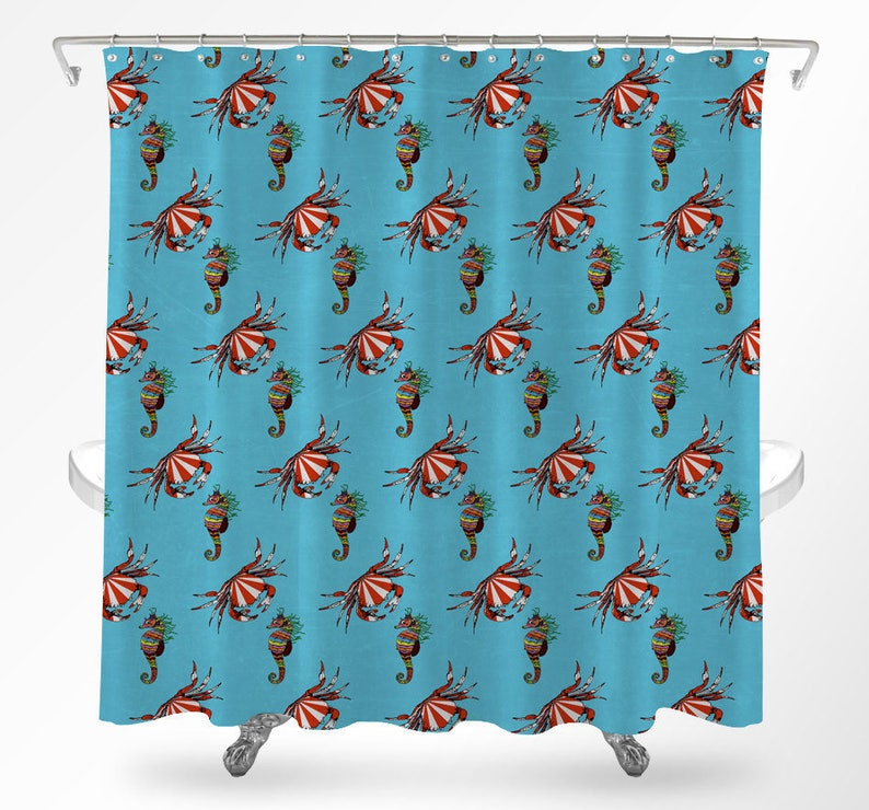 Seahorse Shower Curtain Ocean Life Aquatic Bathroom Kids Under The Sea Cool Curtains