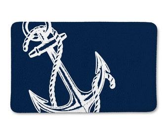 Nautical Bath Rug, Nautical Bathroom, Navy Blue Anchor Bath Mat, Bath Rug, Nautical Bath Decor, Nautical Bath Mat, Anchor Bathroom Decor