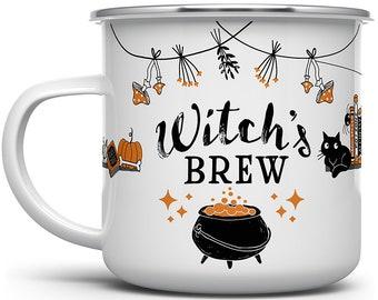 Witch's Brew Campfire Mug, Halloween Witch Coffee Mug, Halloween Witchy Gothic Cup, Black Cat Camping Mug, Fall Autumn Mug, Halloween Lover