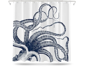 Octopus Shower Curtain, Nautical Shower Curtain, Octopus Bathroom Decor, Shower Curtain Navy, Bathroom Decor, Octopus Bathroom