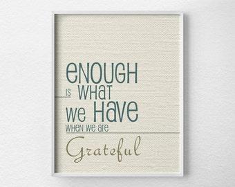 Gratitude Poster, Gratitude Art, Typography Poster, Inspirational Print, Motivational Art, Positive Quote, Family Art, Home Decor, 0074