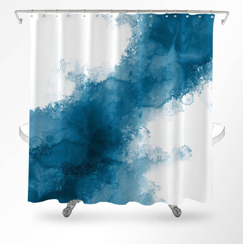 Watercolor Shower Curtain Modern Ocean Bathroom Decor Colorful