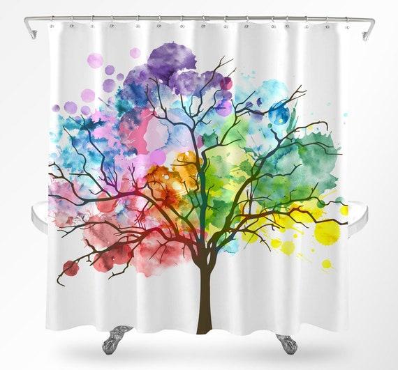 Tree Shower Curtain Watercolor Rainbow