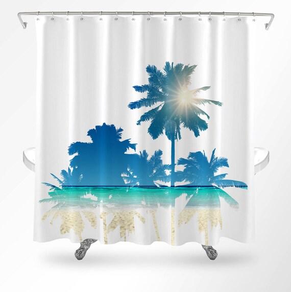 Beach Shower Curtain Ocean Shower Curtain Palm Tree Shower | Etsy
