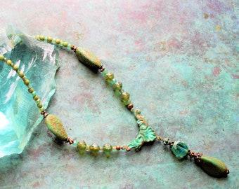Aqua Picasso glass necklace, mossy sea green glass necklace, Patina turquoise necklace, rustic mossy green rustic necklace