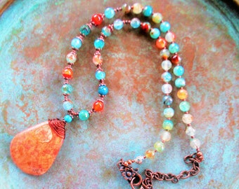 Howlite Turquoise necklace, Fire Agate necklace, southwest Turquoise necklace, boho rustic necklace,