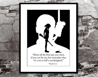 To Kill A Mockingbird Harper Lee Literary Quote Poster Vintage Art Illustration Large Wall Prints Typography Print Gift Quotes