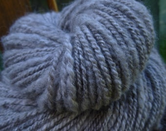 Handspun Yarn, Art yarn, Natural Coloured Yarn, Thick & Thin Yarn, 2 Ply yarn: WOOD SMOKE