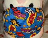 Blue Super Comic Strip Words Washable Filter Pocket Multi Layers Fabric Mask