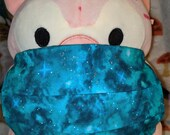Teal Glittery Galaxy Washable Filter Pocket Multi Layers Fabric Mask