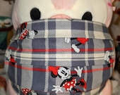 Mickey and Minnie Plaid Washable Filter Pocket Multi Layers Fabric Mask
