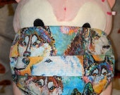 Watercolor Husky Colors Packed Faces Washable Filter Pocket Multi Layers Fabric Mask