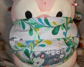 Opossums in floral vines Washable Filter Pocket Multi Layers Fabric Mask