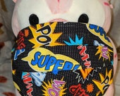 Black Super Comic Strip Words Washable Filter Pocket Multi Layers Fabric Mask
