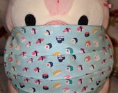 Kawaii Sushi Micro Print Washable Filter Pocket Multi Layers Fabric Mask
