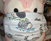Hedgehogs on White FLANNEL Cotton Washable Filter Pocket Multi Layers Fabric Mask
