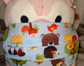 Blue Hedgehog Bear Raccoon Fox Owl Bird Washable Filter Pocket Multi Layers Fabric Mask