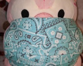 Teal Bandana Print Washable Filter Pocket Multi Layers Fabric Mask