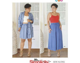 Simplicity Pattern 8558 by Mimi G Style. Misses pull-on wide leg cropped pants or shorts, knit crop top and unlined jacket, Size 16-24.