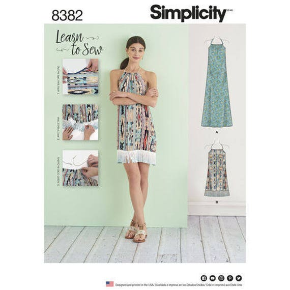 d7a13be53839 Simplicity Pattern 8382 D0662 Misses  Halter Dress in Two