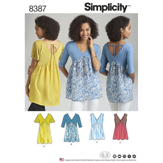 a462c8e3dad2 Simplicity Pattern 8387 Misses  Knit and Woven Top with