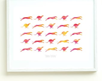Whippet Greyhound Dog Digital Art Print, Red Orange Pink Acrylic Running Dog Artwork, Born To Run