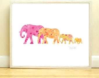 Elephant Family Digital Art Print, Pink Orange Pink Acrylic Artwork, Together