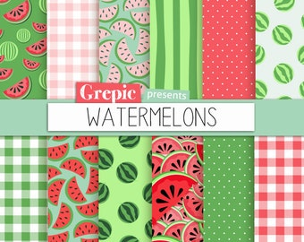 """Watermelon digital paper: """"WATERMELONS"""" digital paper pack with red, green and pink watermelon backgrounds and textures, gingham, polkadots"""