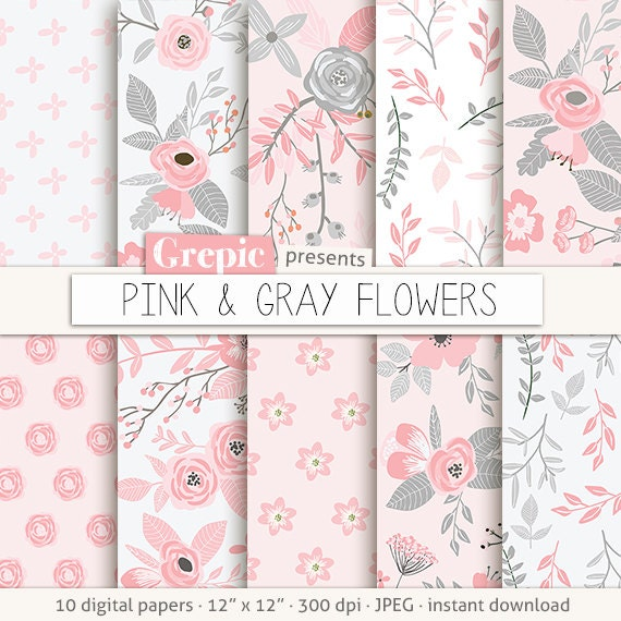 Pink Digital Paper PINK GRAY FLOWERS Vintage