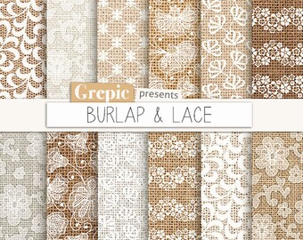 Burlap Digital Paper BURLAP LACE Textures Lace Backgrounds
