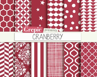 """Cranberry digital paper: """"CRANBERRY"""" with dark red / purple backgrounds and textures patterned with chevron, polkadots, stripes etc patterns"""