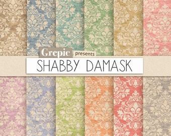 """Damask digital paper: """"SHABBY DAMASK"""" shabby digital paper pack with dirty / old / vintage / shabby classical damask pattern backgrounds"""