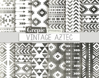 "Aztec digital paper: ""VINTAGE AZTEC"" grunge patterns, tribal backgrounds, geometric, black white, grungy, triangles, worn out, vintage, grey"