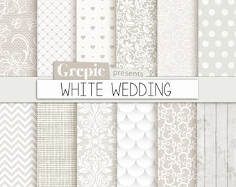 """Wedding digital paper: """"WHITE WEDDING"""" with romantic white wedding bridal patterns for wedding invites, save the date cards, scrapbooking"""