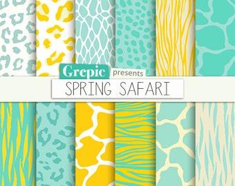 "SALE 50% Animal print digital paper: ""SPRING SAFARI"" yellow green zebra print | tiger skin | giraffe | leopard patterns | green ye"