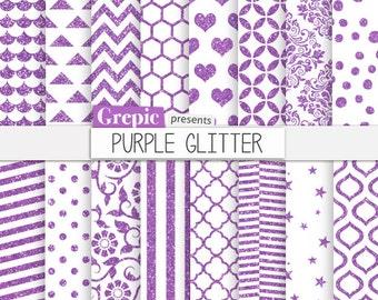 "SALE 50% Purple glitter digital paper: ""PURPLE GLITTER"" patterns backgrounds w/ sparkling chevron, polkadots, stripes, sparkles, q"
