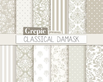 Damask Digital Paper CLASSICAL DAMASK Pack With And Classical Vintage