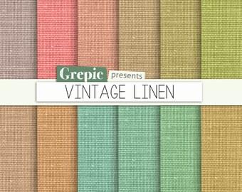 """SALE 50% Vintage linen digital paper: """"VINTAGE LINEN"""" with linen backgrounds, canvas textures in vintage colors"""
